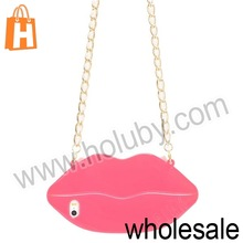 for iPhone 5S Lips Style TPU Case,3D Sexy Lips Style TPU Case with Chain for iPhone 5/5S