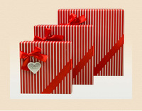 Square red paper box white strips, chocolate box with bowknow