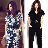 Elegant Short Sleeve V-neck Exotic long jumpsuits for women 2014 Shirts Playsuit With Waistband 13464