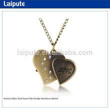 Bronze Alloy Dual-heart flip Design Necklace Watch Japan Movt Pocket Watch
