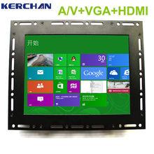 "15"" industrial resistive video input monitor open frame design flexible installation"
