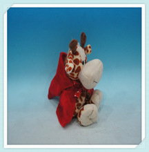 Mini Giraffe Plush Animal Toys with Red Hat