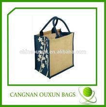 fashion jute reusable shopping bags with logo, striped shopping bag,wooden handle shopping bag