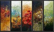 oil paintings tree of life 5 panels handmade for wall art