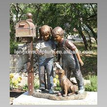 Bronze Boy and Girl and Dog Sculpture Bronze Mailbox Statue