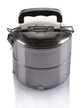 2 layer stainless steel thermol lunch box with plastic handle / Thermal containers / storage boxes