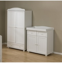 WHITE WOOD 2PC WARDROBE & DRESSER BABY NURSERY ROOM SET