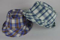 checked foam men party hat with ribbon