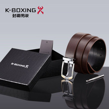 K-BOXING Brand Men's Fashion Cow Hide Genuine Leather Belt, Alloy Buckle