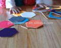 2015 vendita calda fatta a mano eco friendly 3cm feltro in poliestere usato esagono tavola calda dishs set di tappetino puzzle tappeto bambino ingrosso