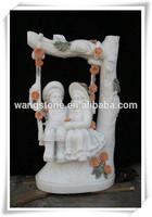 Garden stone sculpture Boy and Girl Child Stone Statue