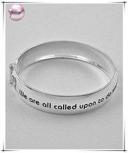 "Polished Silver Tone Fold-over Bracelet Message ""we Are All Called Upon To Do Small Things With Great Love.-mother Teresa-"""