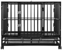 "36"" Dog Crate Kennel - Heavy Duty Black Pet Cage Playpen with Metal Tray Pan"