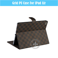 Fashion Grid Pattern magnetic PU Leather Case Smart Cover Stand For iPad5 U1702-64