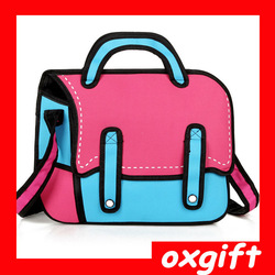 OXGIFT Latest fashion 3d shoulder bag funny messenger bag cute carton bag