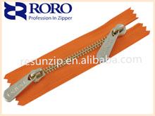RORO2014 5# high quality gold Y teeth double slider zipper for handbag