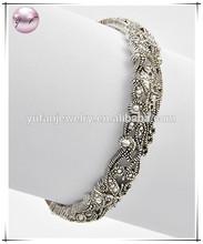 Antique Silvertone Lead Compliant Marcasite Look Stretch Bracelet