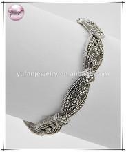 Antique Silver Tone Lead Compliant Marcasite Look Stretch Bracelet