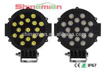 "12/24V 7"" 51W Bright Offroad Vehicles LED Work Light 4wd SUV LED truckwork light 9-32V 17*3W Super Bright Led Driving Light"