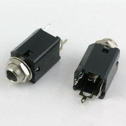 Black Plastic 1/4 Inch Jack Socket. Choose Mono or Stereo.