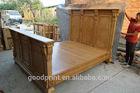 Bedroom Furniture-Solid Wood Carved King Bed