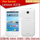 White Lenovo Dual Core Dual sim Single camera A376 android mobile phone