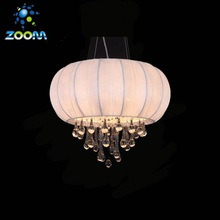 hot sale traditional design fabric &crystal pendant lamp
