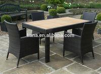 Teak and Black Rattan 4 Seater Outdoor Dining Set Garden Furniture
