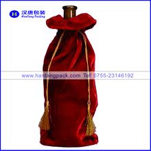natural velvet drawstring wine bags
