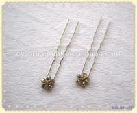 Alloy hair clip crystal flower metal hair sticks