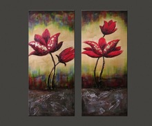 2 panels flower heavy texture oil painting wall art purple paintings canvas art for decor