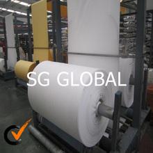 China 100% virgen blanca de polipropileno laminado tejido de la tela rollos de fabricación