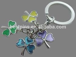 multi-trefoil dangler keyrings, zinc alloy pendant trefoil keychains, metal enamel key chains with trefoil charms