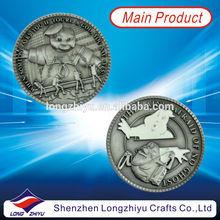 3D Relief custom logo design souvenir coin producer,antique silver metal coin medal maker,glow in dark metal coins manufacturer
