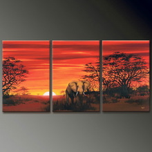 hand painted landscape elephant oil painting new products 2014