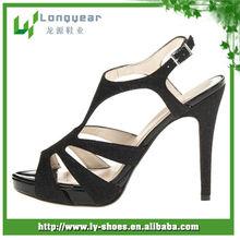 Women's Black Glitter High Heel Sandals
