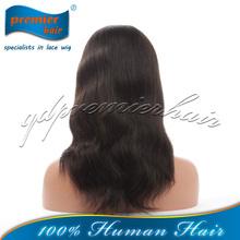 2014 premier wigs China manufacturer wholesale cheap 100% virgin black women brazilian human hair lace front wigs with bangs