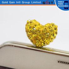High Quality Bling Diamond Mobile Phone Dust Plug Heart Cute Design Ear Jack Plug For 3.5 mm Earphone Dust Plug