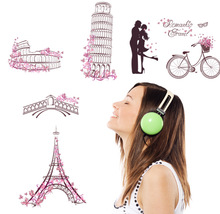 New arrival Romantic travel 3D Eiffel tower wall stickers room decor ABC1005