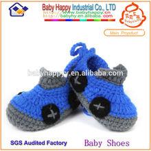 Dark blue crochet baby wool boot
