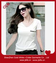 OEM women's v-neck zipper pocket tshirt