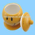 مرسومة باليد السيراميك الأصفر وجه مبتسم كوكي جرة