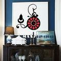 أسود مع أحمر الكلاسيكية الجدار ملصق ديكور المنزل الفن ساعة حائط ديكور المنزل diy