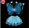 Childs skye blue Angel Butterfly Wings Fancy Dress Costume