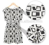 2014 New Preppy Style celebrity Clothing Casual Tunic Women Party Mini Elastic Geometric Print Chiffon Dress SV000471