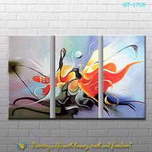 handpainted modern art paintings 3 panels from Xiamen factory