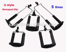 Smartphone Monopod / Tripod Universal U Style Clip Mount for iPad5 iPad mini iPhone5s Samsung Phone Z07-1 Monopod Clip 5 Sizes
