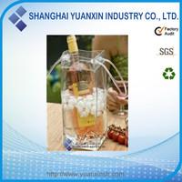 PVC ice bag wine cooler plastic bag,insulated bottle holders