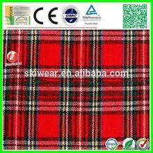 2015 new design black red white plaid fabric for shirt