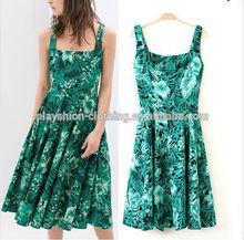 2014 European Elegant Women Green Leaf Print Dress Slim Sleeveless Dress